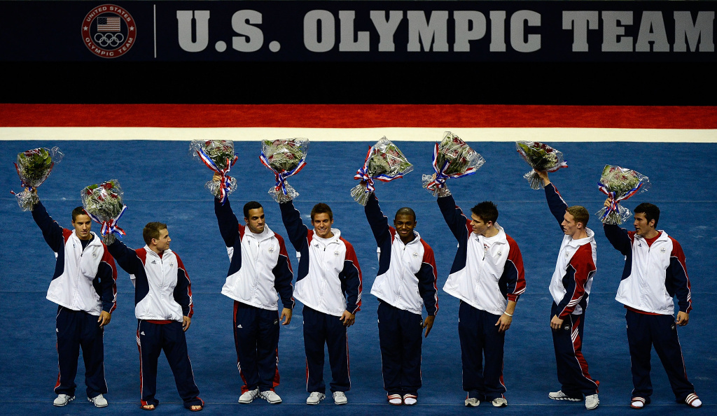 SAN JOSE, CA - JULY 01:  The US Gymnastics men's team of (from left) Jacob Dalton, Jonathan Horton, Danell Leyva, Sam Mikulak, John Orozco, Chris Brooks, Steven Legendre and Alexander Naddour pose for a team picture after they were announced as the team going to the 2012 London Olympics at HP Pavilion on July 1, 2012 in San Jose, California.  (Photo by Ronald Martinez/Getty Images)