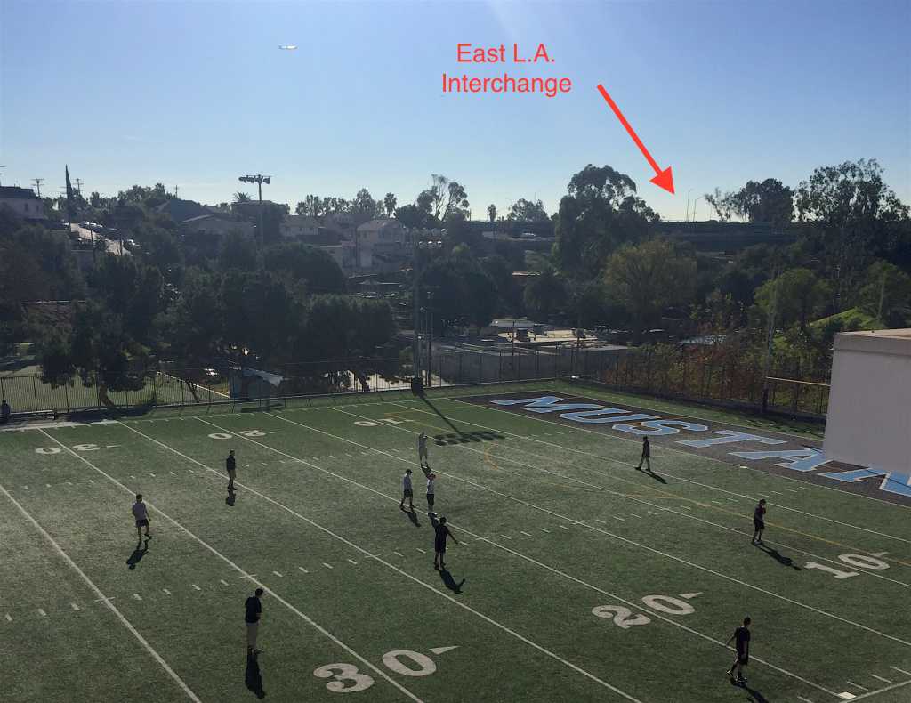The East L.A. interchange is visible from the soccer field behind Salesian High School in Boyle Heights.
