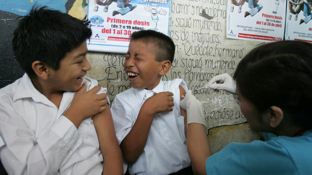 A boy in Lima, Peru, receives a hepatitis B vaccine during an immunization drive in 2008. The United Nations is considering a ban on the preservative thimerosal, which is often used in hepatitis B and other vaccines in developing countries.