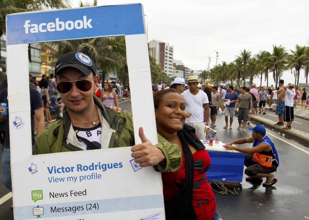 A reveller fancy dressed as a Facebook profile in Rio de Janeiro on March 5, 2011.