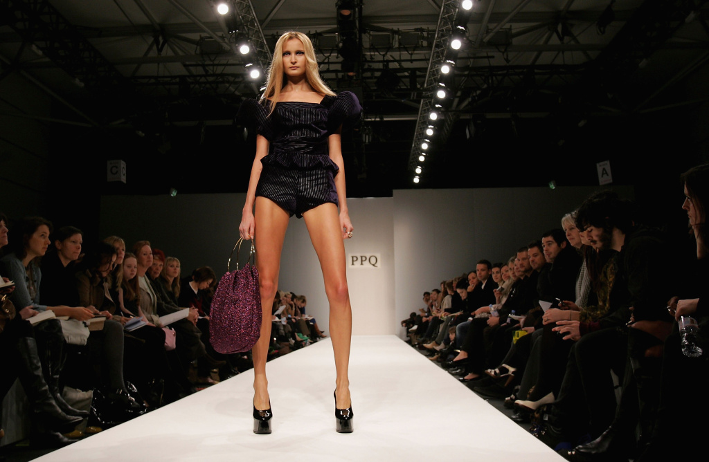 A model walks down the catwalk during the PPQ Autumn/Winter 2007 show during London Fashion Week on February 13, 2007 in London, England.