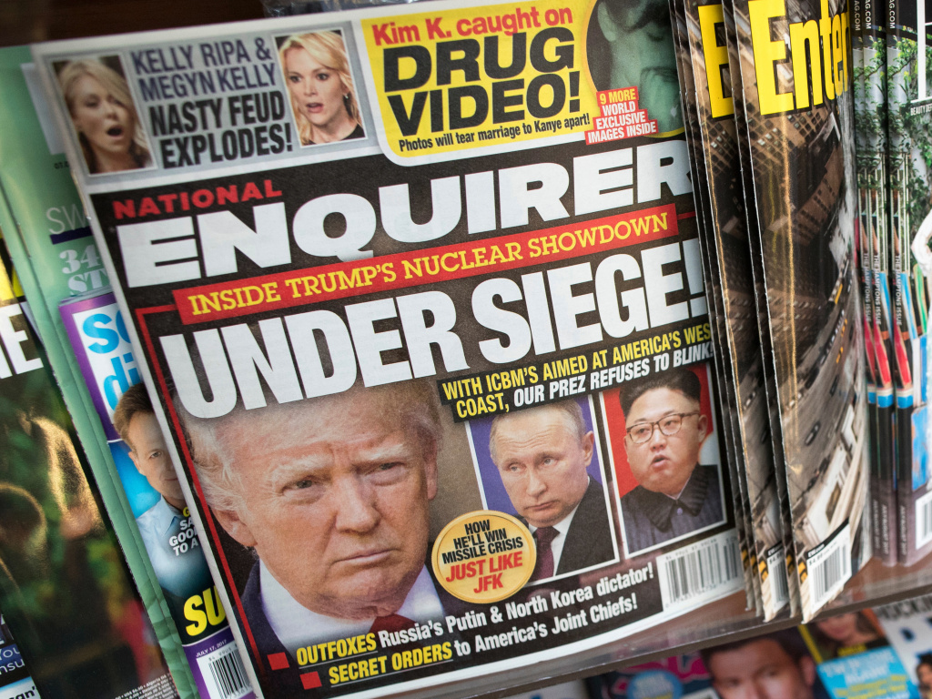 The cover of the National Enquirer in July 2017 featuring President Trump. The tabloid is for sale.