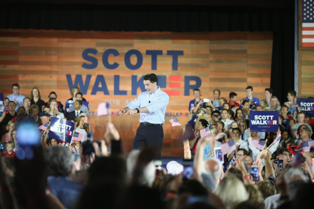 Wisconsin Governor Scott Walker announces to supporters and news media gathered at the Waukesha County Expo Center that he will seek the Republican nomination for president on July 13, 2015 in Waukesha, Wisconsin.