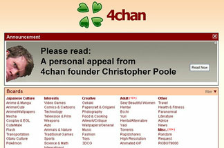 The home page of the image board website 4chan. Christopher