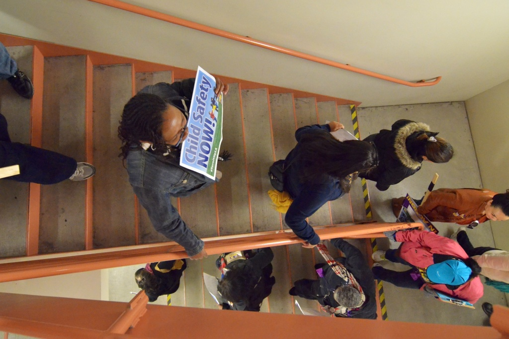 Strikers leave Supervisor Molina's office after delivering demands to the supervisor's secretary. They are suspending their strike returning to the bargaining table