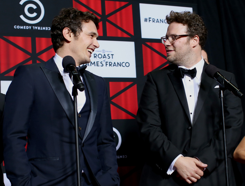 Roastee James Franco and actor Seth Rogen attend The Comedy Central Roast of James Franco at Culver Studios on Aug. 25, 2013 in Culver City.