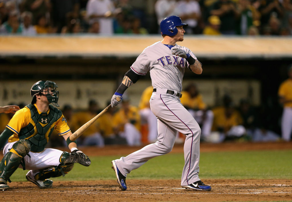 Josh Hamilton takes a swing last season as a member of the Texas Rangers. He's an Angel now after signing a five-year, $125 million contract.   (Photo by Ezra Shaw/Getty Images)