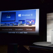 Microsoft's Ashley Frank talks about Windows 10 during Microsoft Shareholders Meeting December 3, 2014 in Bellevue, Washington.