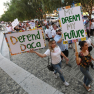 "LAS VEGAS, NV - SEPTEMBER 10:  Immigrants and supporters march on the Las Vegas Strip during a ""We Rise for the Dream"" rally to oppose U.S. President Donald Trump's order to end DACA on September 10, 2017 in Las Vegas, Nevada. The Obama-era Deferred Action for Childhood Arrivals program protects young immigrants who grew up in the U.S. after arriving with their undocumented parents from deportation to a foreign country. Trump's executive order removes protection for about 800,000 current ""dreamers,"" about 13,000 of whom live in Nevada. Congress has the option to replace the policy with legislation before DACA expires on March 5, 2018.  (Photo by Ethan Miller/Getty Images)"