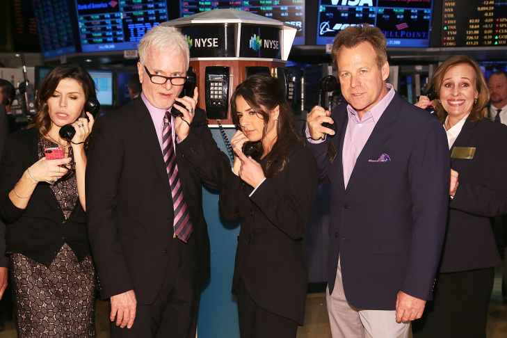 (L-R) Actors Finola Hughes, Tony Geary, Kelly Monaco, Kin Shriner and Genie Francis of ABC's soap opera General Hospital ring the opening bell at the New York Stock Exchange on April 1, 2013 in New York City.