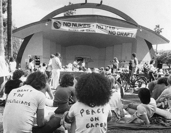 A 1980 peace rally at Levitt Pavilion in MacArthur Park.