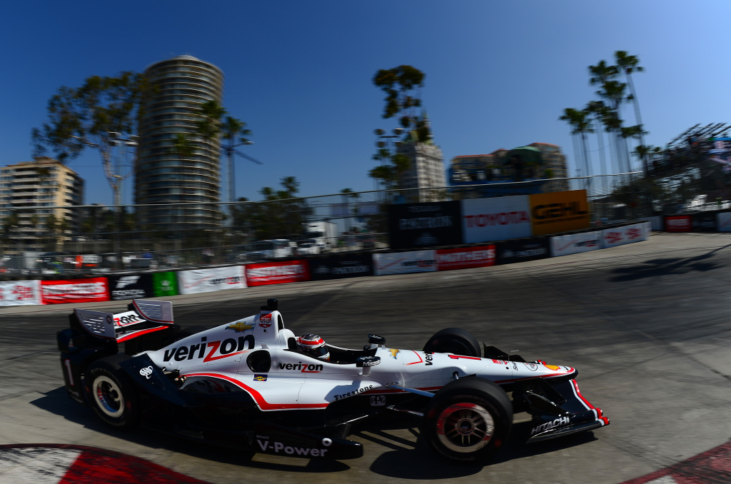 Will Power of Australia, driver of the #1 Verizon Team Penske Chevrolet Dallara, drives during warm-ups for the Toyota Grand Prix of Long Beach on April 19, 2015.