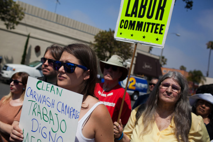 Jose Sanchez of Santa Monica joined a protest at Santa Monica Car Wash where union officials and community leaders rallied on Monday, May 21.