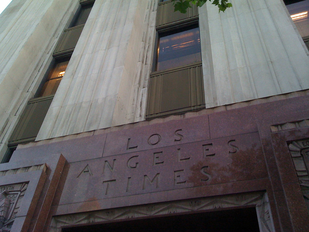 The entryway to the Globe entrance of the Los Angeles Times on First Street in downtown L.A.