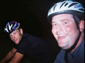 Los Angeles cyclist Todd Munson rides with Lance Armstrong