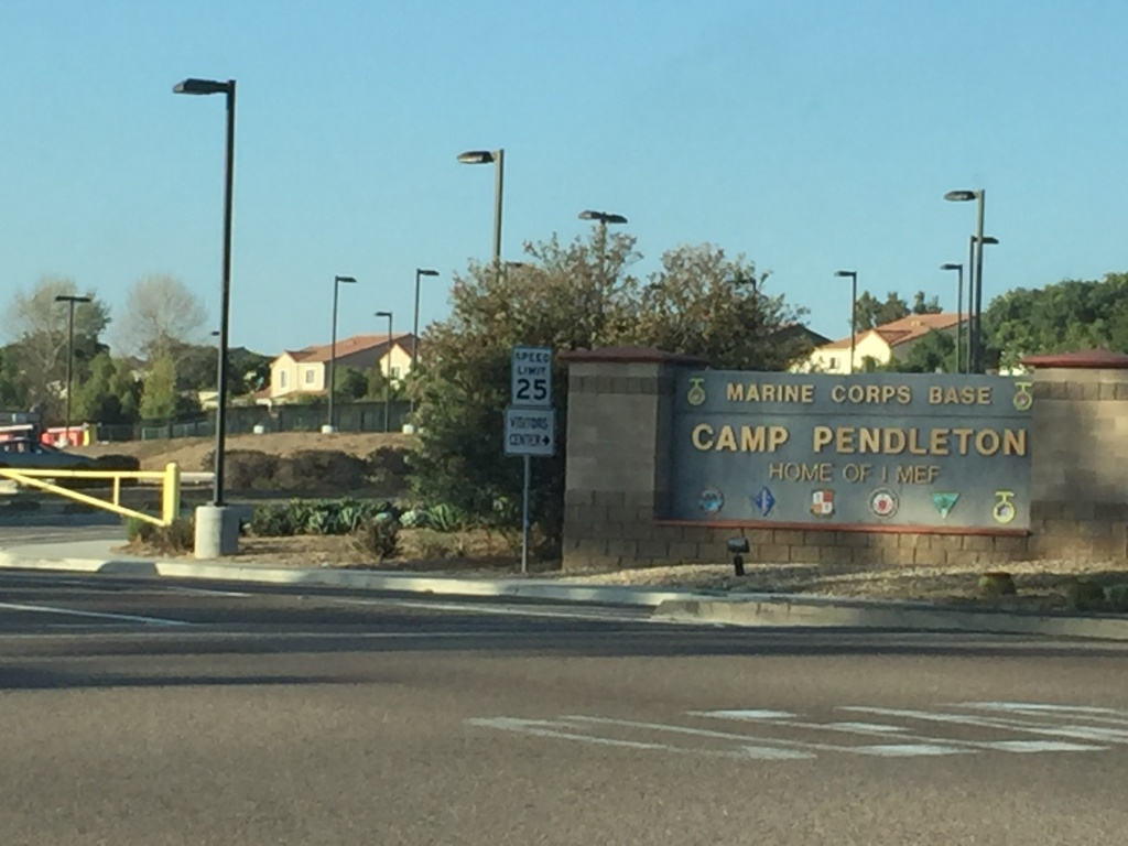The South Gate at Camp Pendleton, which is home to the U.S. Marine Corps' 1st Marine Expeditionary Force.