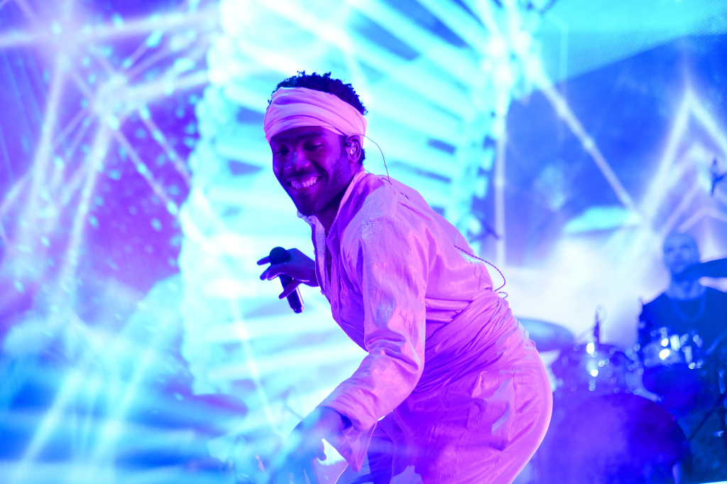 A special effects camera filter was used for this image. Donald Glover of Childish Gambino performs onstage during the 2017 Governors Ball Music Festival - Day 2 at Randall's Island on June 3, 2017 in New York City. Childish Gambino is up for four major Grammy Awards.