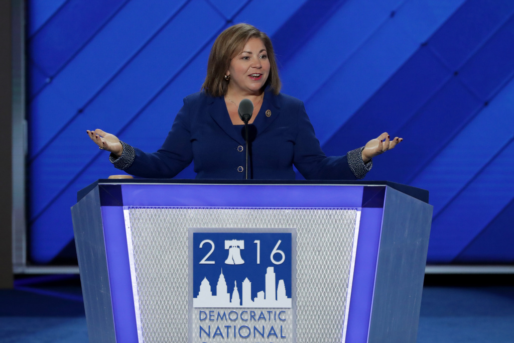 Linda Sánchez of the Congressional Hispanic Caucus, delivers remarks on the first day of the Democratic National Convention at the Wells Fargo Center, July 25, 2016 in Philadelphia, Pennsylvania.