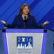 "Rep. Linda Sánchez (D-CA) of the Congressional Hispanic Caucus delivers remarks on the first day of the Democratic National Convention at the Wells Fargo Center in Philadelphia. She is profiled in the Washington Post's ""Women in Power"" series."