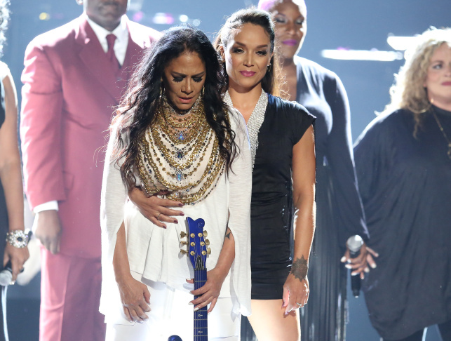 Sheila E., left, and Mayte Garcia stand on stage following a performance in tribute to Prince at the BET Awards at the Microsoft Theater on Sunday, June 26, 2016, in Los Angeles.