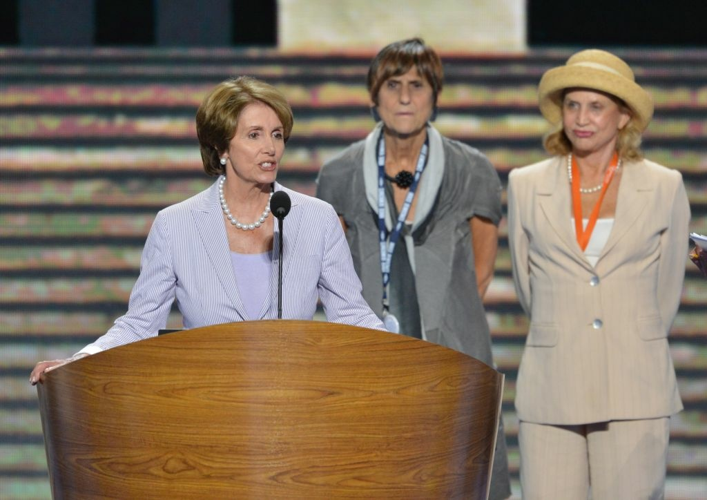 US Representatives Nancy Pelosi (L), Rosa DeLauro (C) and Carolyn Maloney (R) during a rehearsal in the Time Warner Cable Arena September 3, 2012 in Charlotte, North Carolina as preparations for the 2012 Democratic National Convention continue.