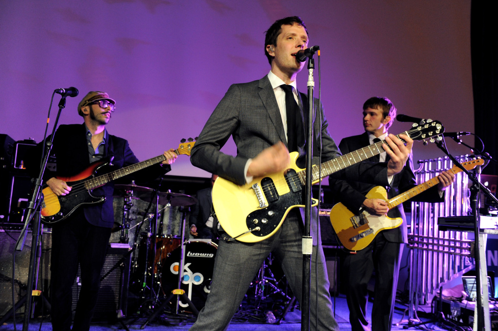 (L-R) Musicians Tim Nordwind, Damian Kulash and Andy Ross of OK Go perform at the after party for the premiere of Sony Pictures Classics'