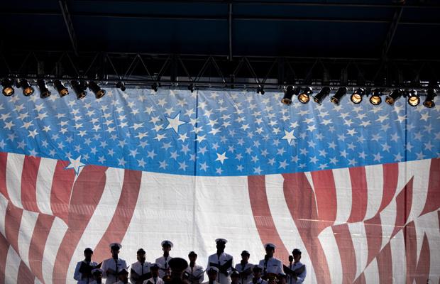 A military chorus sings during a memorial service at the Pentagon September 11, 2011 in Arlington, Virginia.