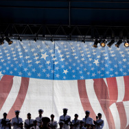 A military chorus sings during a memorial service at the Pentagon September 11, 2011 in Arlington, Virginia.
