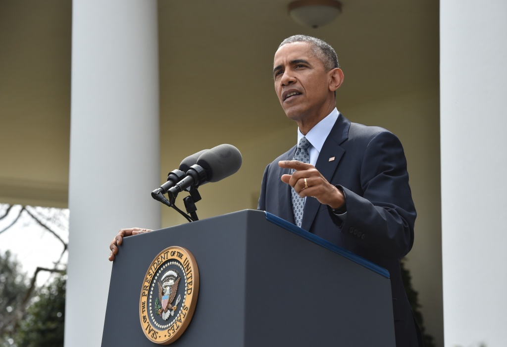 US President Bararck Obama makes a statement at the White House in Washington, DC, on April 2, 2015 after a deal was reached on Iran's nuclear program.