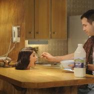 """Fiona (Gemma Arterton) and Jerry (Ryan Reynolds) in """"The Voices."""""""