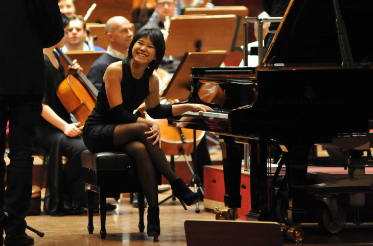 Chinese pianist Wang Yuja smiles during a 2014 rehearsal at the National Concert Hall in Taipei.