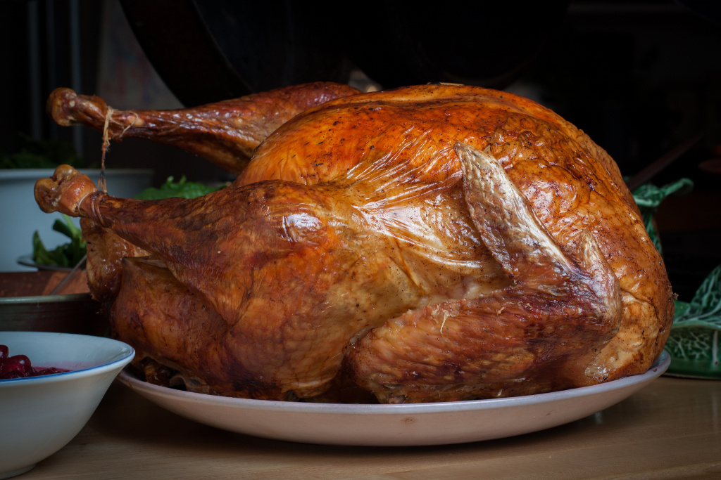 A roasted Thanksgiving turkey.