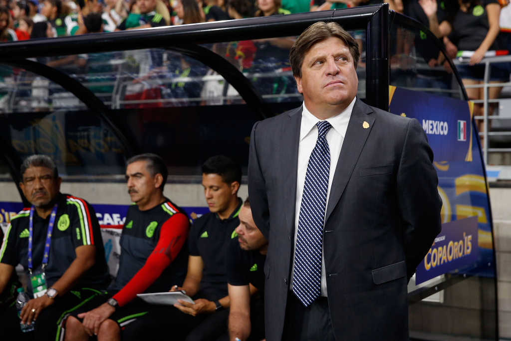 GLENDALE, AZ - JULY 12:  Head coach Miguel Herrera of Mexico during the 2015 CONCACAF Gold Cup group C match against Guatemala at University of Phoenix Stadium on July 12, 2015 in Glendale, Arizona.  The popular, and controversial, coach was fired this week. (Photo by Christian Petersen/Getty Images)