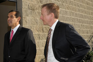 Mayor Antonio Villaraigosa and First Deputy Mayor and Chief Executive Officer for Economic and Business Policy Austin Beutner at the unveiling of WET's Idea Playground, a new complex dedicated to discovery and innovation featuring Los Angeles' first 'permeable' grass parking lot, on January 14, 2010 in Sun Valley, California.