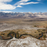 Water flows through the Owens Valley before it enters the aqueduct intake.