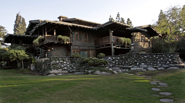 A backyard view  from the iconic Gamble House which is in Pasadena  (Anne Cusack/ Los Angeles Times)