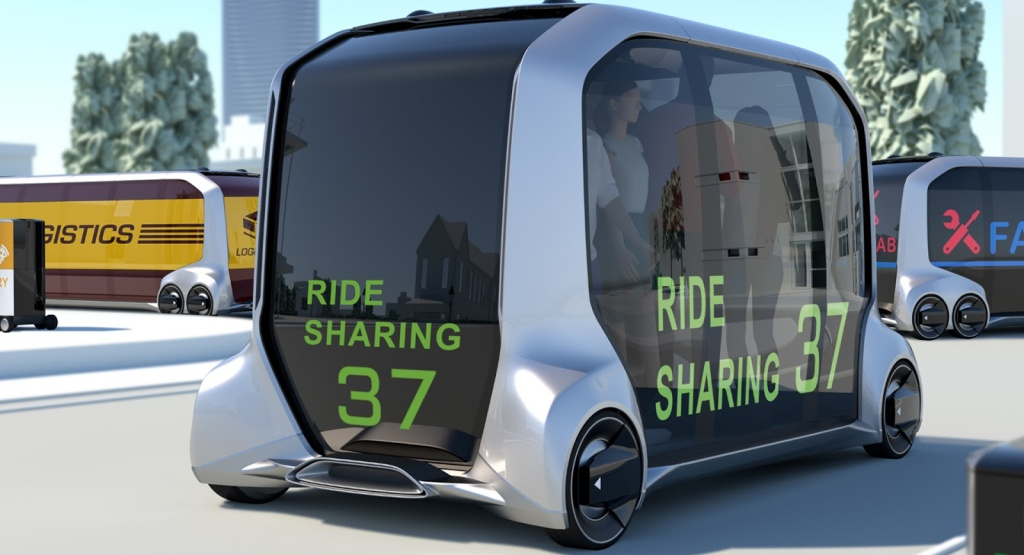 The Toyota e-Palette is a concept delivery vehicle that can be used to deliver people, packages and pizza.