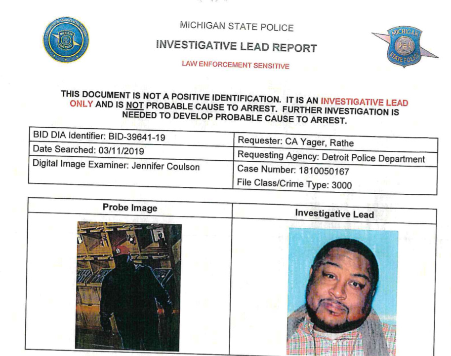 A photo of the alleged suspect in a theft case in Detroit, left, next to the driver's license photo of Robert Williams. An algorithm said Williams was the suspect, but he and his lawyers say the tool produced a false hit.