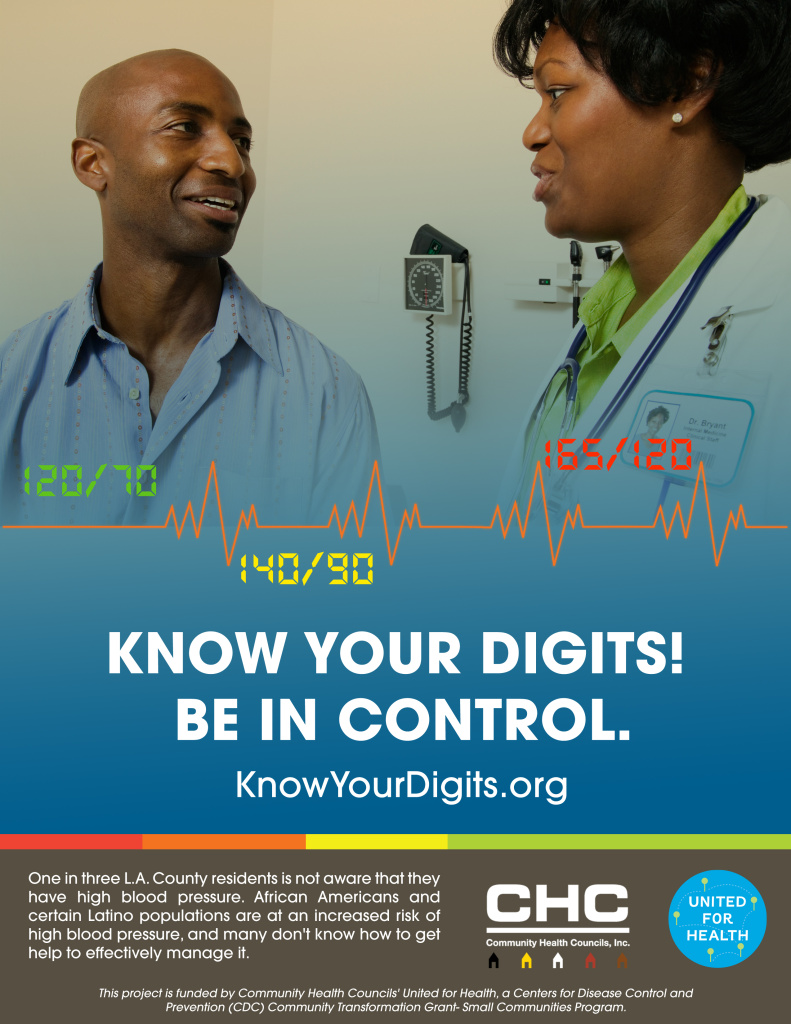A poster from the campaign encouraging African-Americans and Latinos in Los Angeles to know their blood pressure and control it.