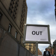 The 'out' exit sign directs media and guests away from the announcement of the final voting results of the EU referendum at Manchester Town Hall on June 24, 2016 in Manchester, England. The results from the historic EU referendum has now been declared and the United Kingdom has voted to LEAVE the European Union.