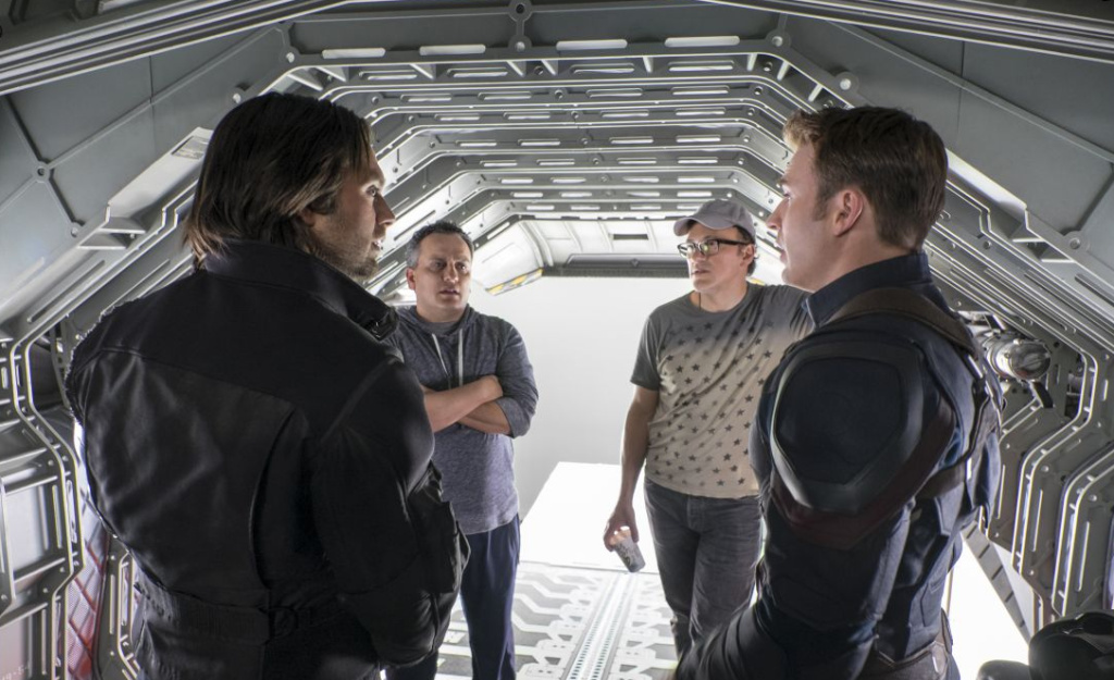 Brothers Joe (left, rear) and Anthony Russo on the set of