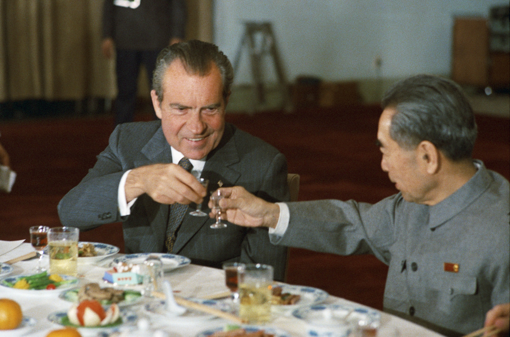 President Nixon with Premier Chou En-Lai in 1972
