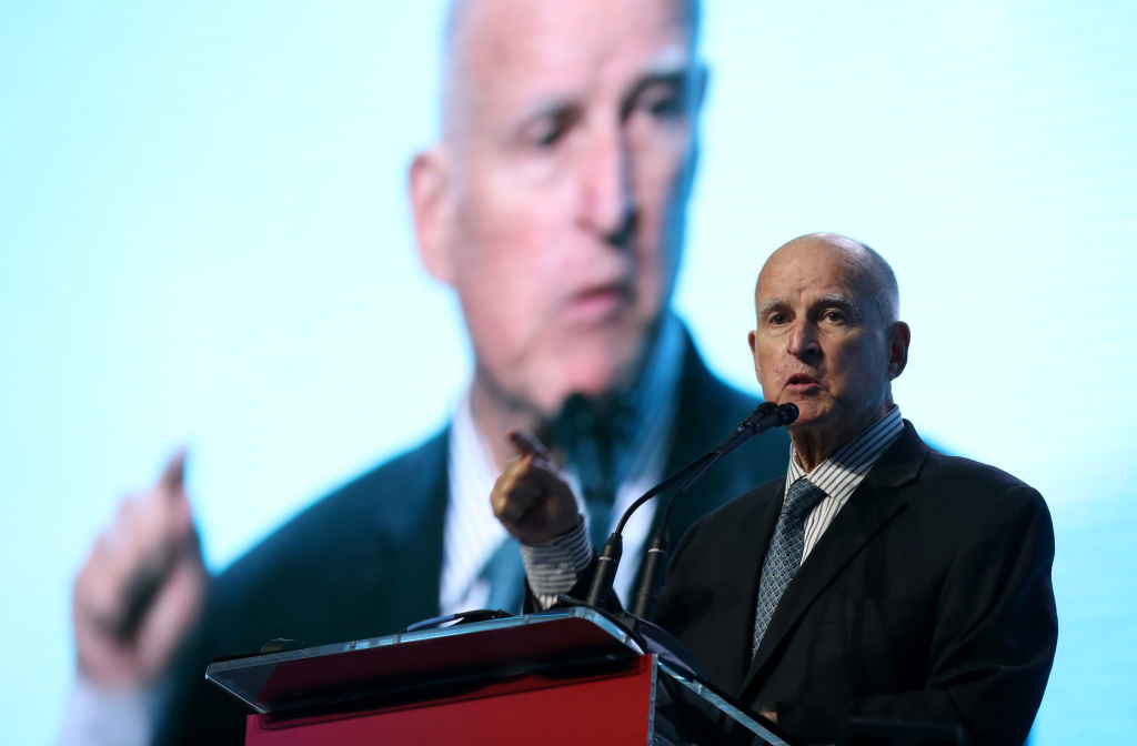 Former California Gov. Jerry Brown speaks during the American Geophysical Union Conference on December 11, 2019 in San Francisco, California.