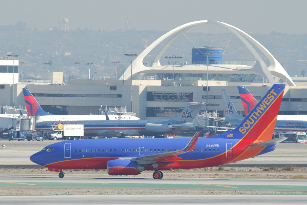File photo of a Southwest Airlines plane docked at LAX.