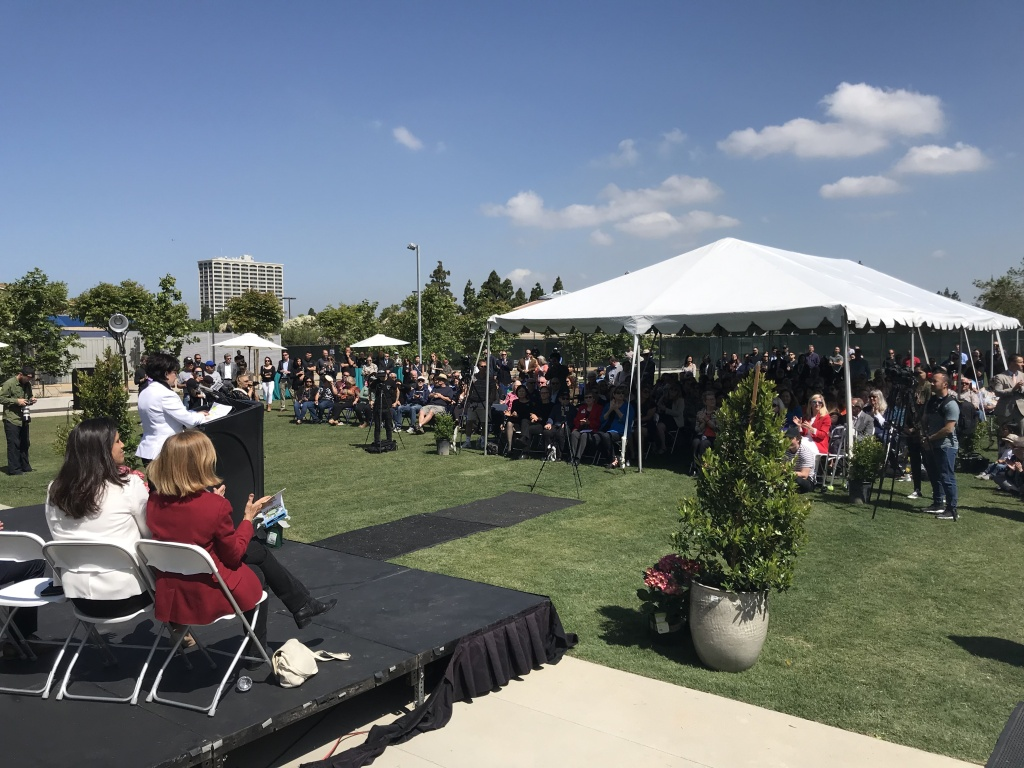Costa Mesa officials inaugurate a new library in Lions Park on May 24, 2019. Dozens of homeless people slept in the park prior to the opening of a bridge shelter nearby.