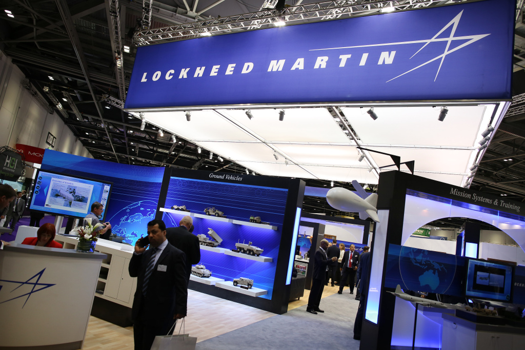 The Lockheed Martin stand at the Defence and Security Exhibition on September 10, 2013 in London, England. ExCeL London is hosting the exhibition with hundreds of manufacturers from all over the world displaying their hardware.