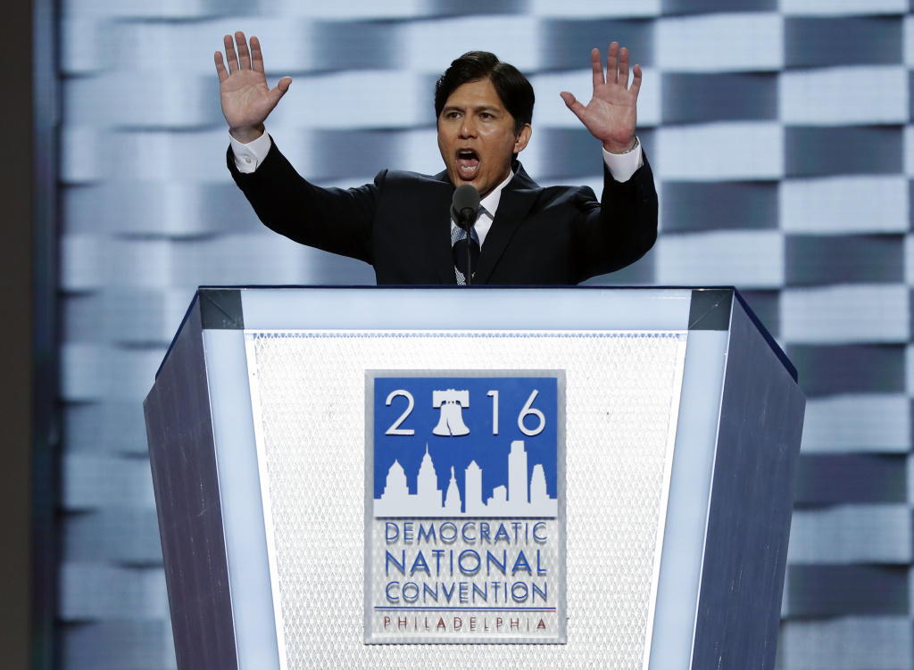 State Sen. Kevin de Leon, D- Calif., speaks during the first day of the Democratic National Convention in Philadelphia , Monday, July 25, 2016.