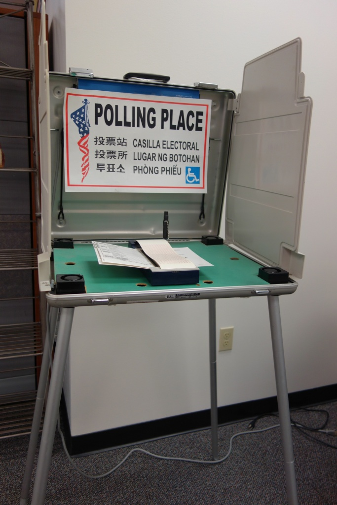 Typical voting booth and the Ink-a-Vote ballot marking machine used throughout Los Angeles County.