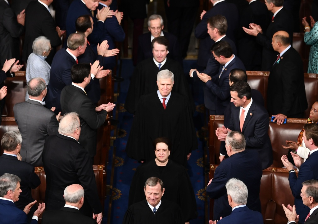 US Supreme Court justices arrive for the State of the Union address at the US Capitol in Washington, DC
