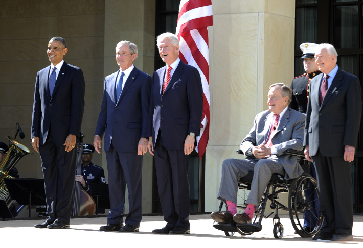 From left to right, President Barack Obama, former presidents George W. Bush, Bill Clinton, George H. W. Bush and Jimmy Carter arrived at the opening ceremony of the George W. Bush Presidential Center.